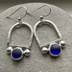 Natural  Blue sea glass and silver earrings 8