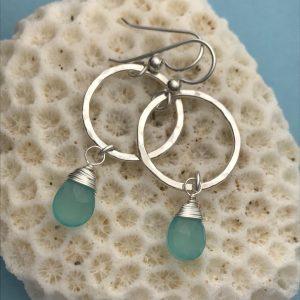 Aqua chalcedony hammered silver earrings 4