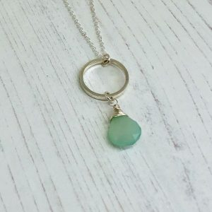 Aqua chalcedony silver necklace 4