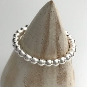 Beaded sterling silver stacking ring 7