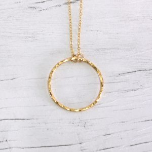 Hammered Gold fill infinity circle necklace 1