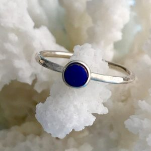 Sterling Silver lapis lazuli stacking ring. 6