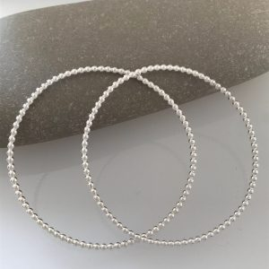Silver beaded wire stacking bangle 7