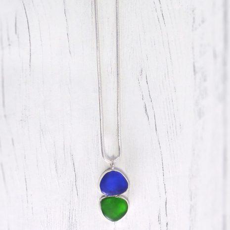 Blue green sea glass pendant 2