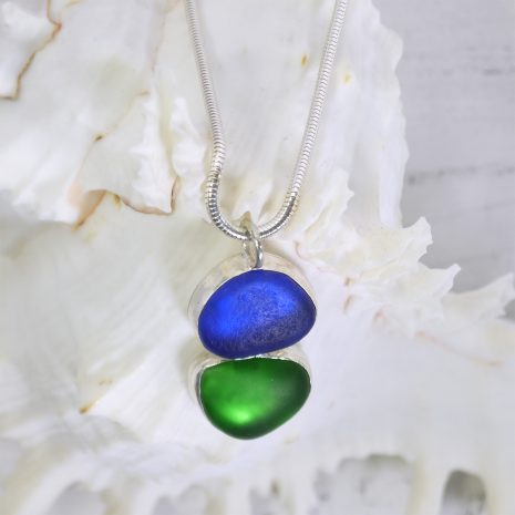 Blue green sea glass pendant 3