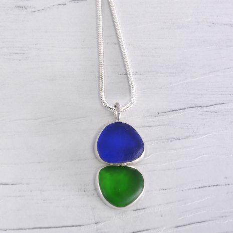 Blue green sea glass pendant