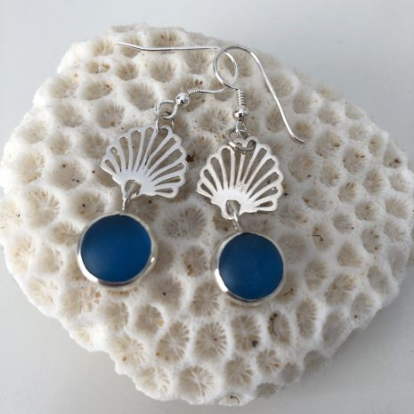 Blue sea glass shell earrings 2