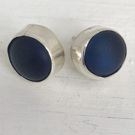 Blue seaglass studs