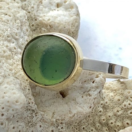 Green gold sea glass ring 1