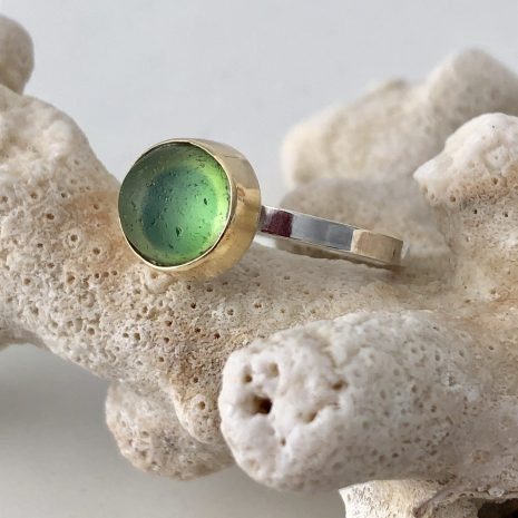 Green gold sea glass ring 2