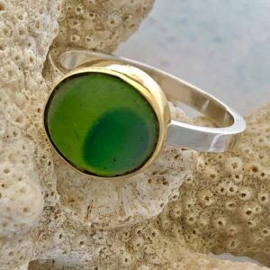 Handmade Green Sea glass ring 10