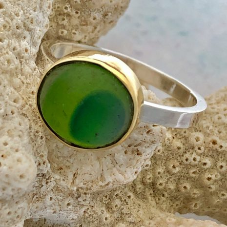 Green gold sea glass ring