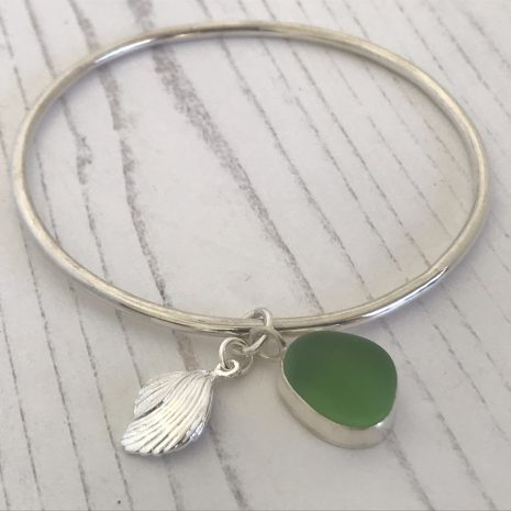 Green sea glass bangle