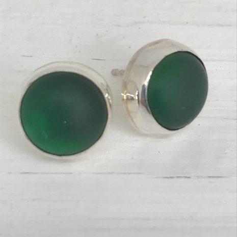 Green sea glass studs