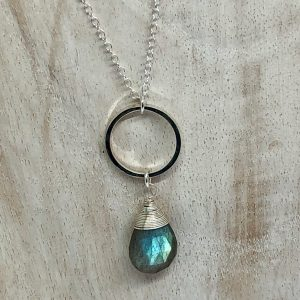 Labradorite and silver necklace 3