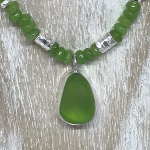 Sea glass and Peridot necklace 2