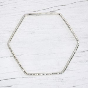 Hexagonal silver bangle 6