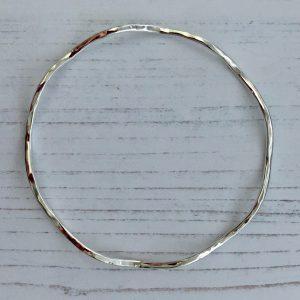 Silver wavy bangle 4