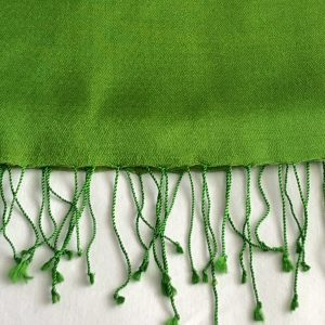 Emerald green Silk and cashmere scarf 5
