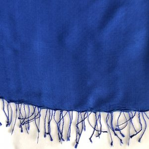 Royal blue Silk and cashmere scarf 6