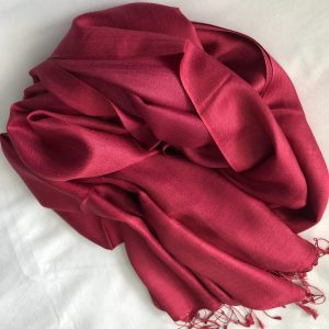 Cranberry Silk and cashmere scarf 4