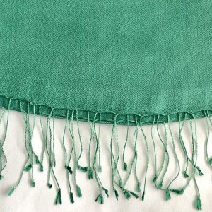 Jade green Silk and cashmere scarf 5