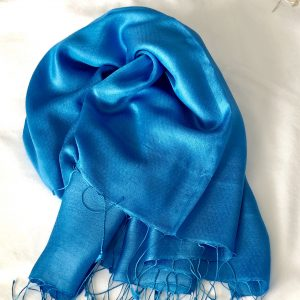 Azure blue Silk and cashmere scarf 7