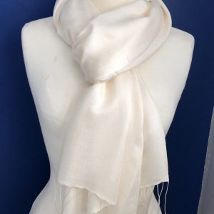 Ivory Silk and cashmere scarf 7