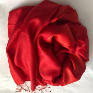 Red Silk and cashmere scarf 4