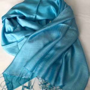 Turquoise Silk and cashmere scarf 5
