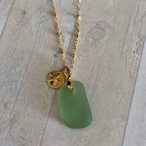 Pale green sea glass necklace 4