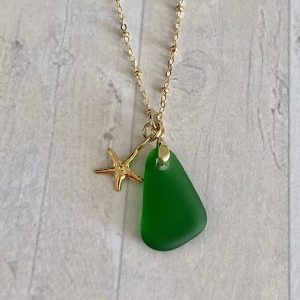 Green sea glass necklace 8