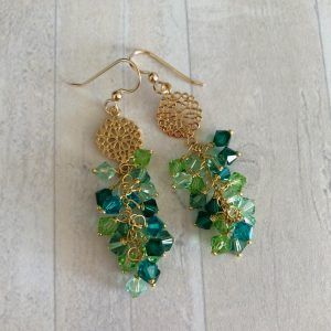 Green swarovski drop earrings 2