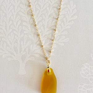 Amber sea glass necklace 2