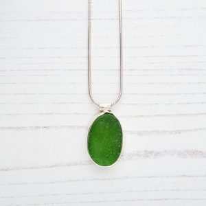 Green sea glass pendant 15