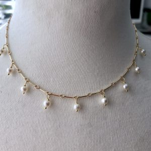 Pearl and 14 k gold fill necklace 4
