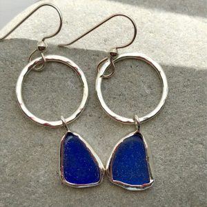 Blue Sea glass earrings 4