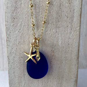 Blue sea glass necklace 7