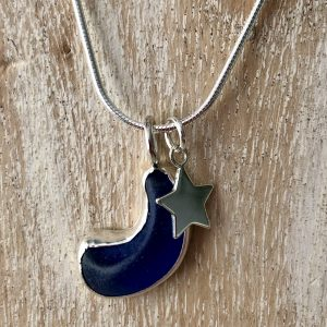 Natural blue sea glass moon and star necklace 1