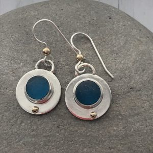 Turquoise sea glass and silver circle earrings 4
