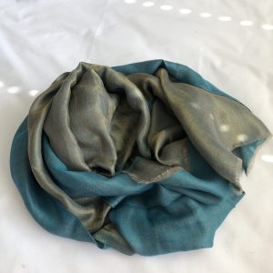 Teal Cashmere and Merino wool scarf 6