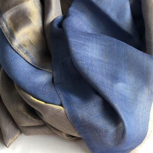 Blue Cashmere and Merino wool scarf 5