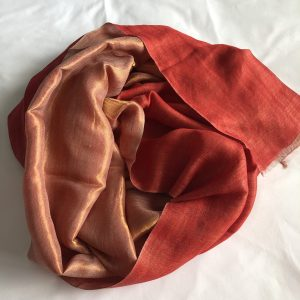 Red and Gold Cashmere and Merino wool shawl 7