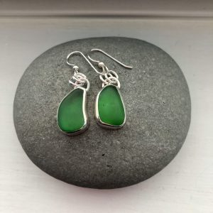 Green Sea glass earrings 3