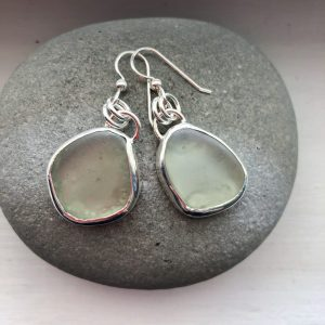 Sea foam Sea glass and silver earrings 4