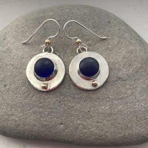 Cobalt blue sea glass and silver circle earrings 10