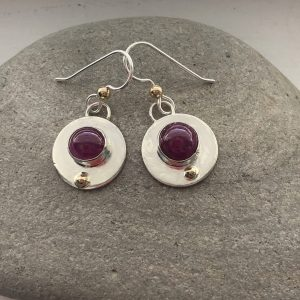 Pink tourmaline and silver circle earrings 2
