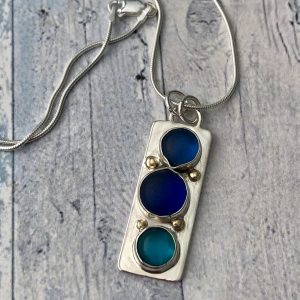 Natural blue sea glass and silver necklace with 9ct gold dots 1