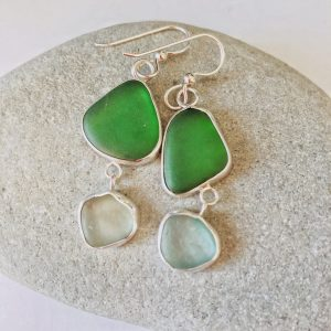 Green natural sea glass and silver earrings 1