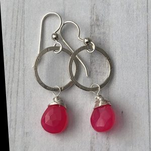 Hot Pink chalcedony hammered silver earrings 1